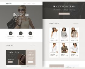 Boutique free PSD and Sketch template