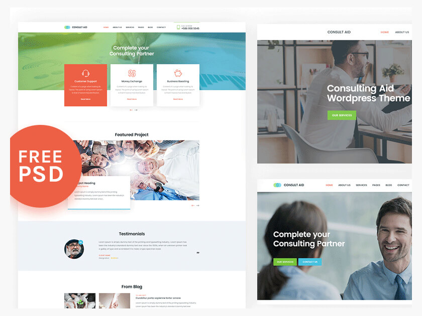 Consultancy free PSD template