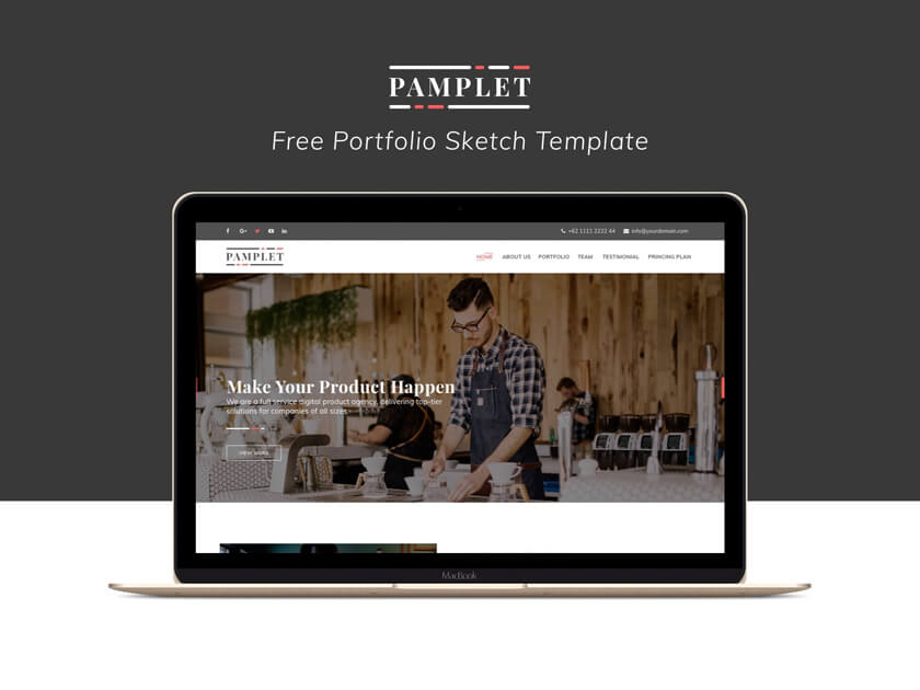 Pamplet free portfolio Sketch template