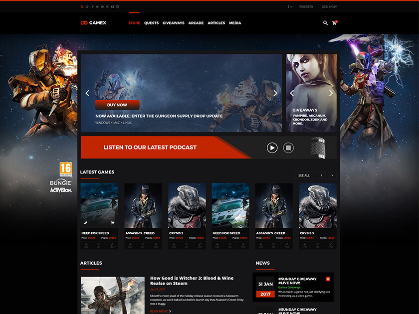 Gamex Game Store Template