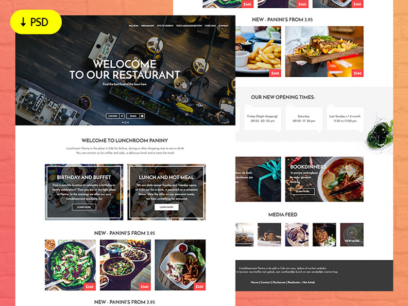 Freebie Restaurant website template