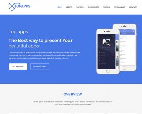 Topapps free landing page template