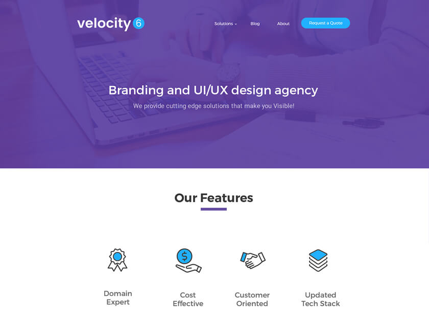 Velocity 6 Free Landing Page Template