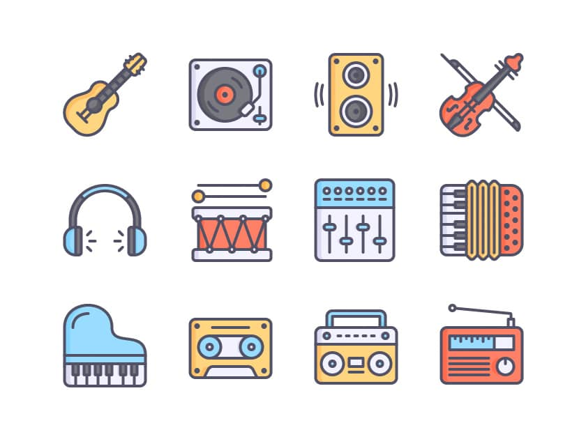 Color music icons