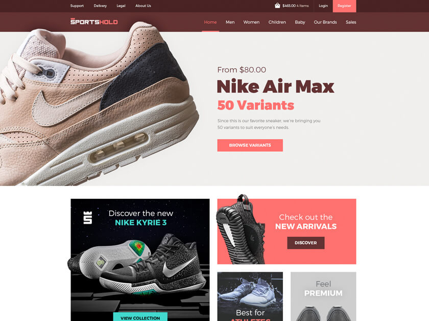 Sportshold – Ecommerce Landing Page