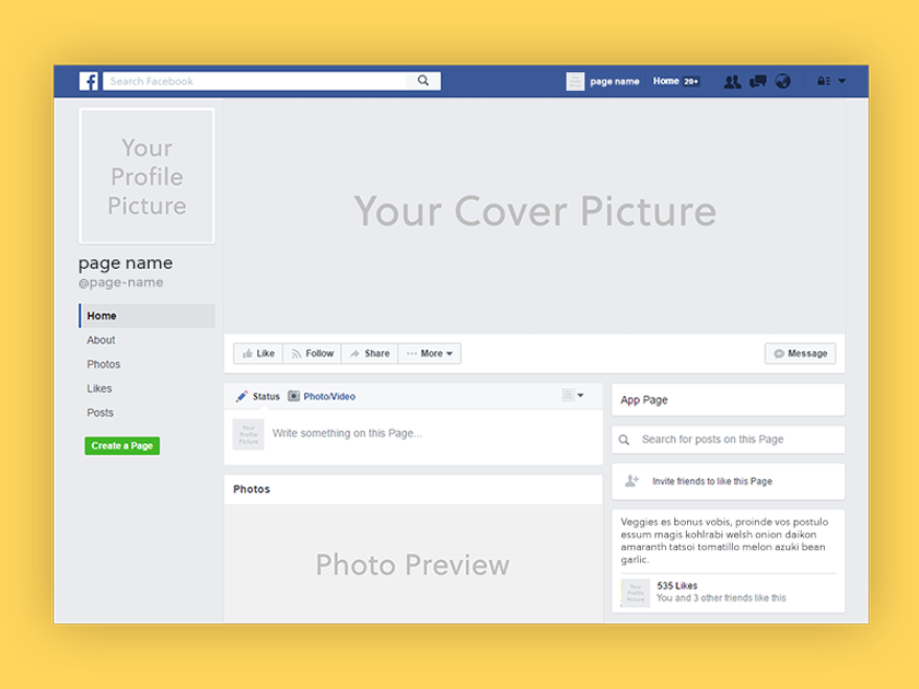 Facebook page 2017 mockup psd fluxes freebies for Facebook page design template free