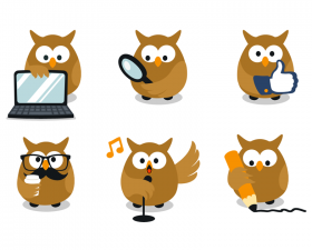 Funny Owl Cartoon Characters