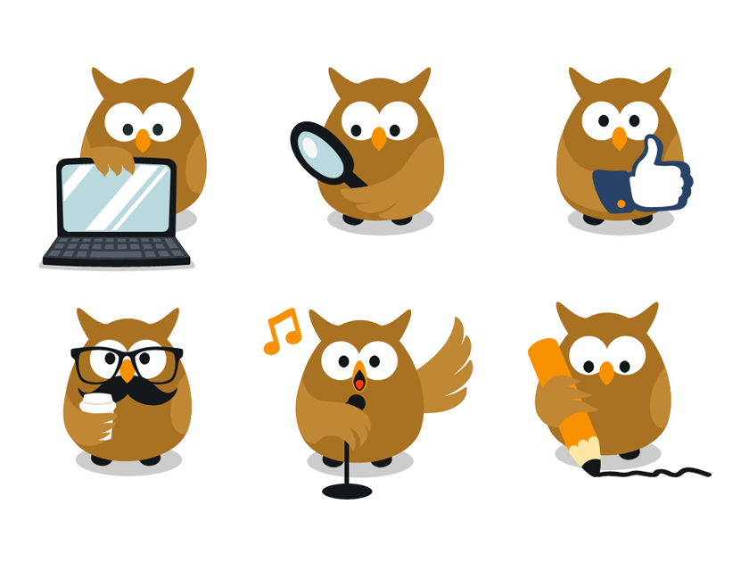 Funny Owl Cartoon Characters Fluxes Freebies