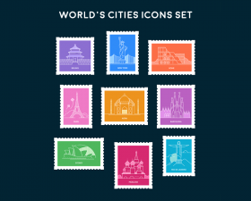 World's Cities Icons Set