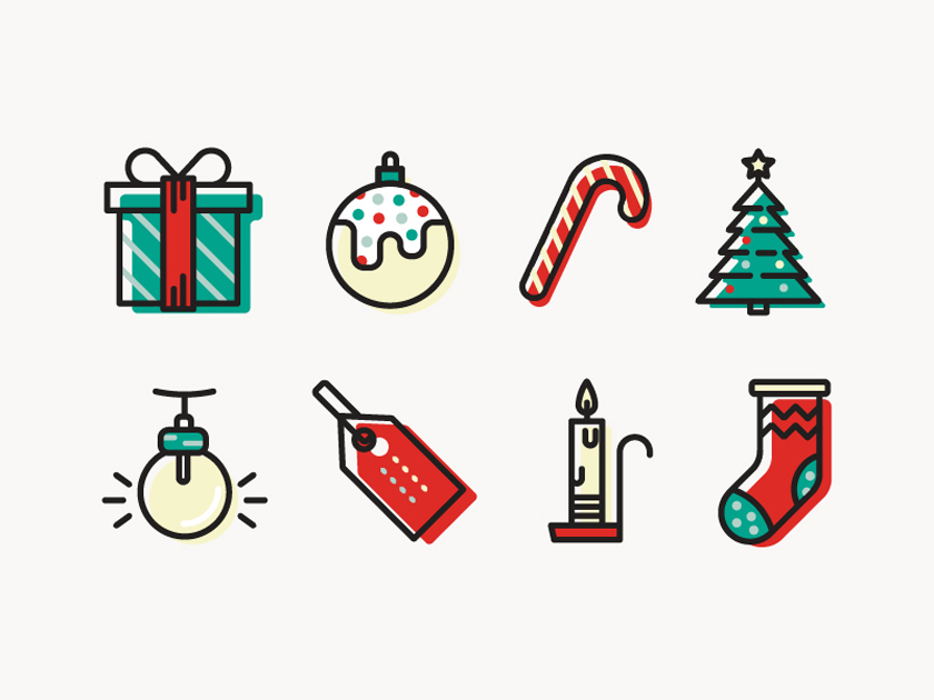 Colorful Christmas Icons