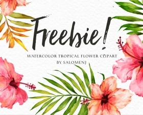 Watercolor tropical flower