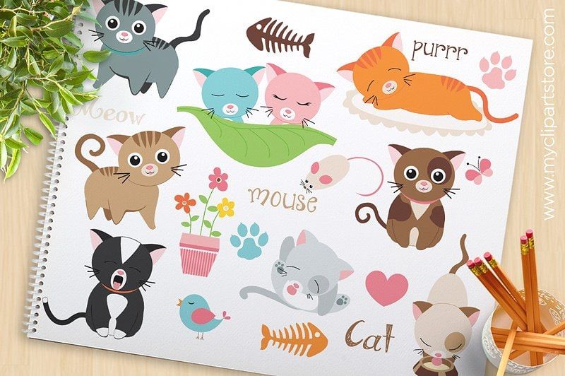 Love Cats Vector Clipart, SVG