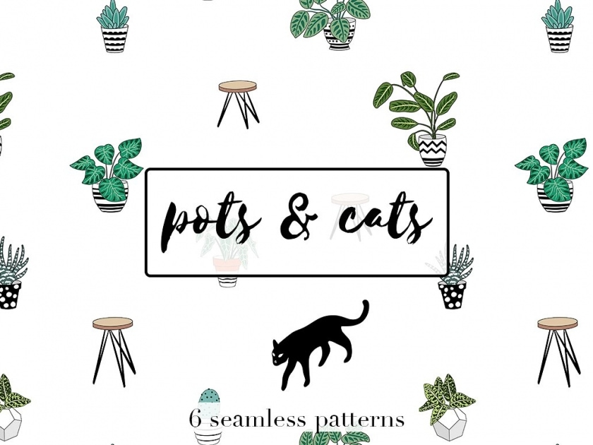 Pots and cats pattern set