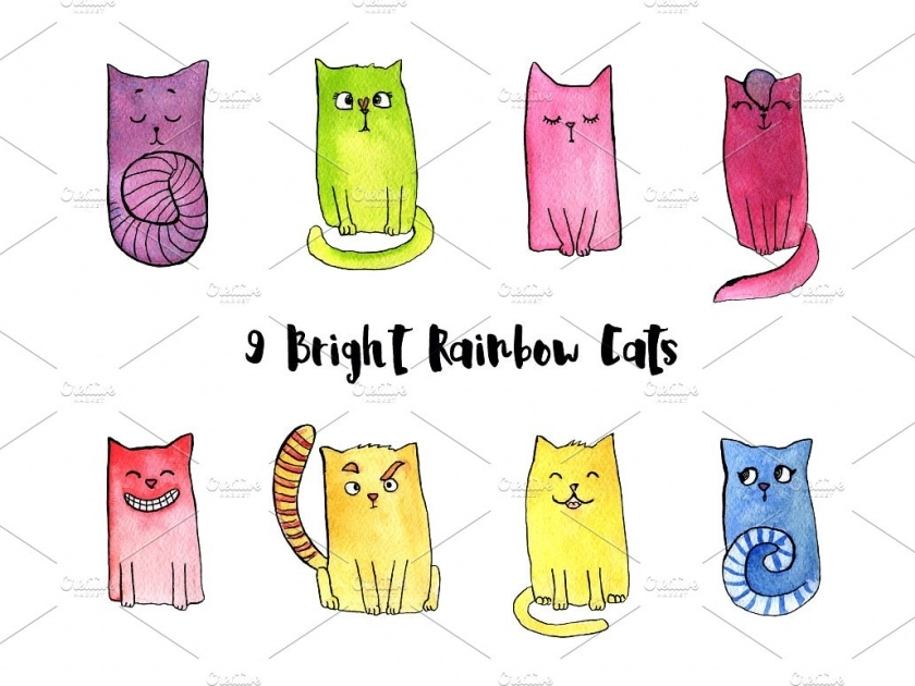 Watercolor Bright Rainbow Cats