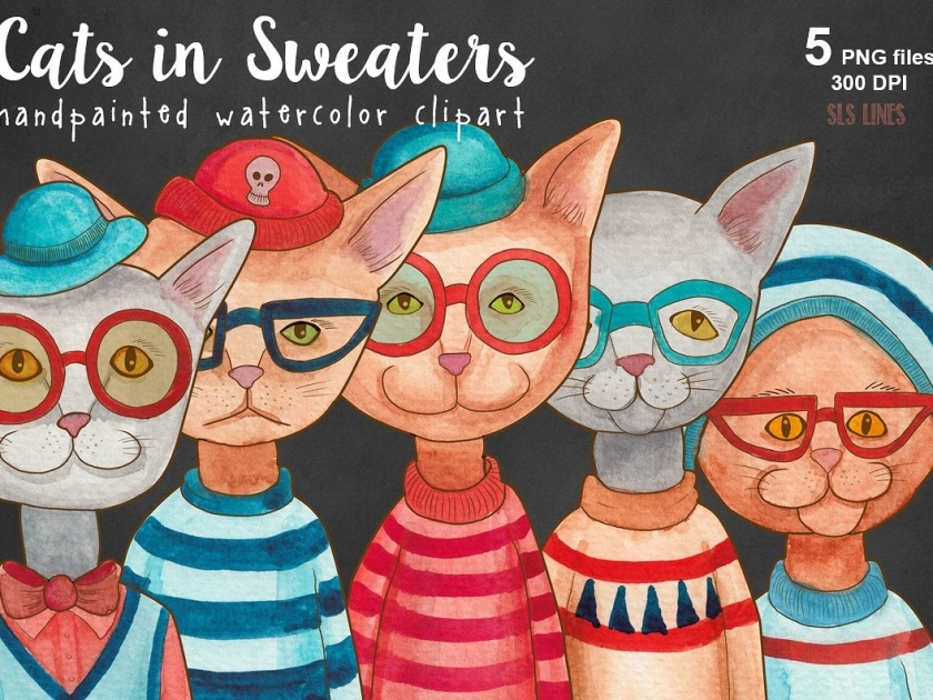Cats in Sweaters Watercolors
