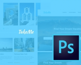 Take Me – free travel UI kit for Photoshop