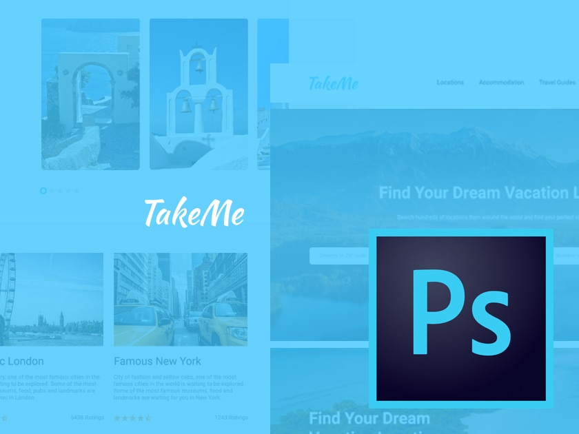 Take Me Free Travel UI Kit for Photoshop