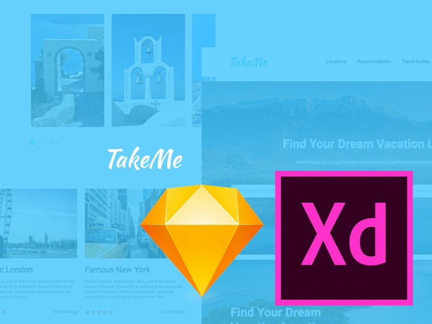 Take Me - free travel UI kit for Sketch & Adobe Xd - Fluxes Freebies