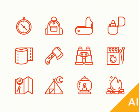 Camping Essentials Icons