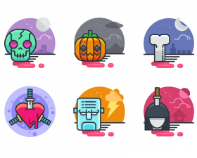 Halloween Flat Icon Set