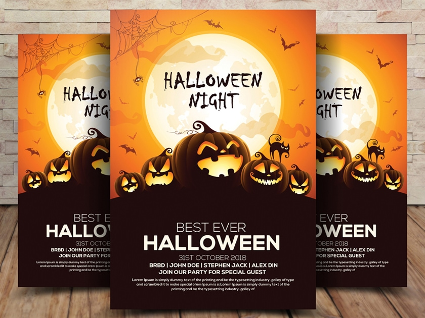 Free Halloween Flyer PSD Template Fluxes Freebies - Free halloween flyer templates