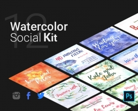 Free Watercolor Social Kit