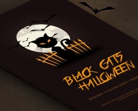Free Black Cat Halloween Party Flyer