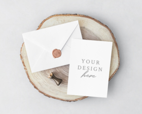 Invitation Card And Envelope PSD Mockup