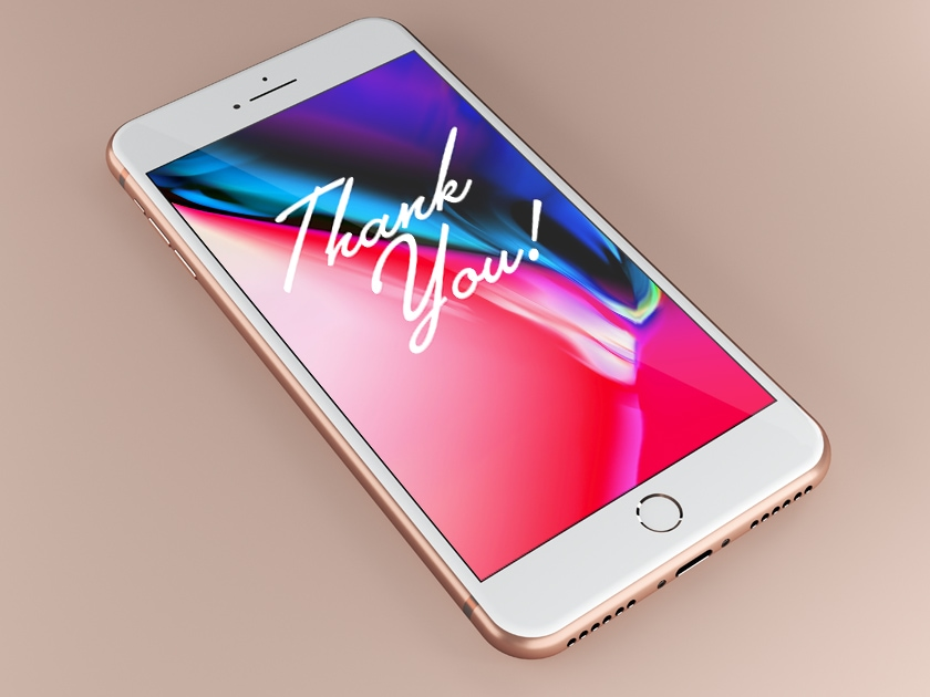 Free iPhone 8 Rose Gold Mockup