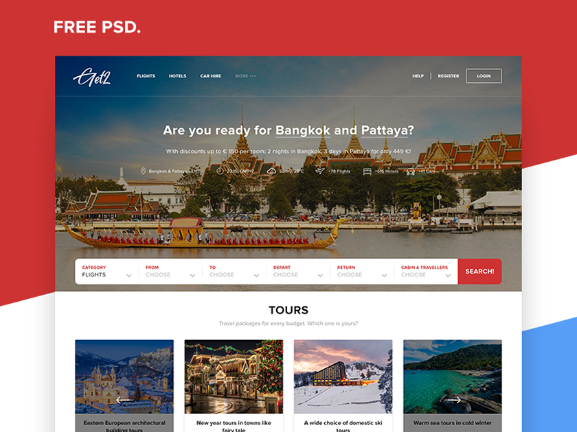 Travel Agency Landing Page Free PSD