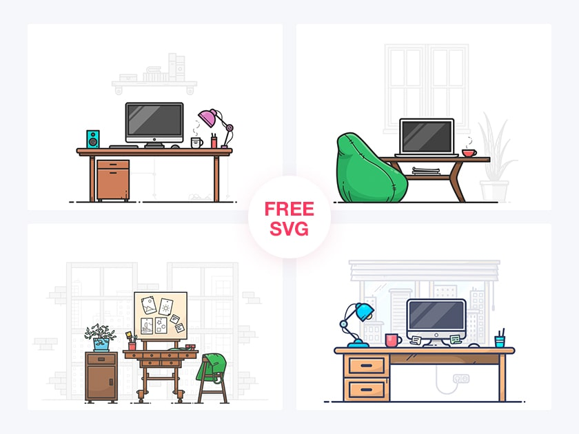4 Free Workspaces Illustrations