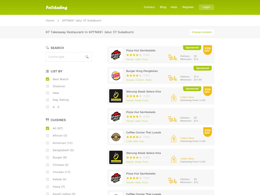 Food Ordering Website - Search Page Template - Fluxes Freebies