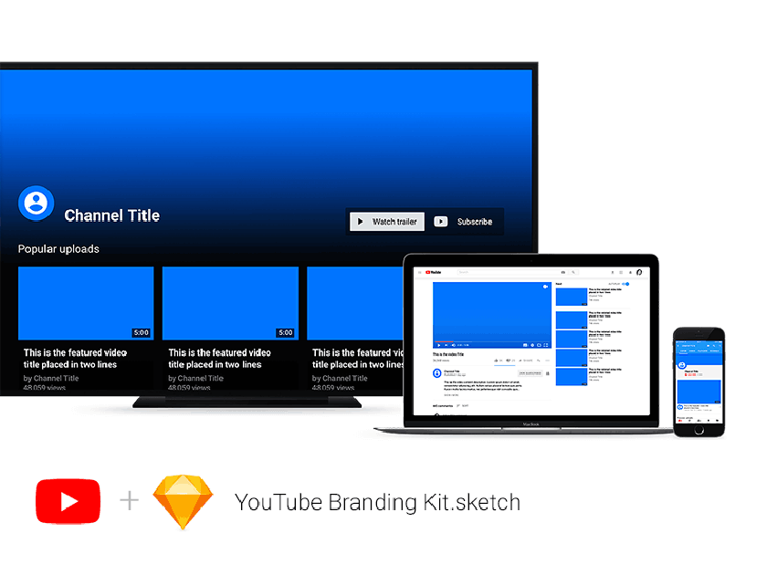 YouTube Branding Kit Sketch Mockup