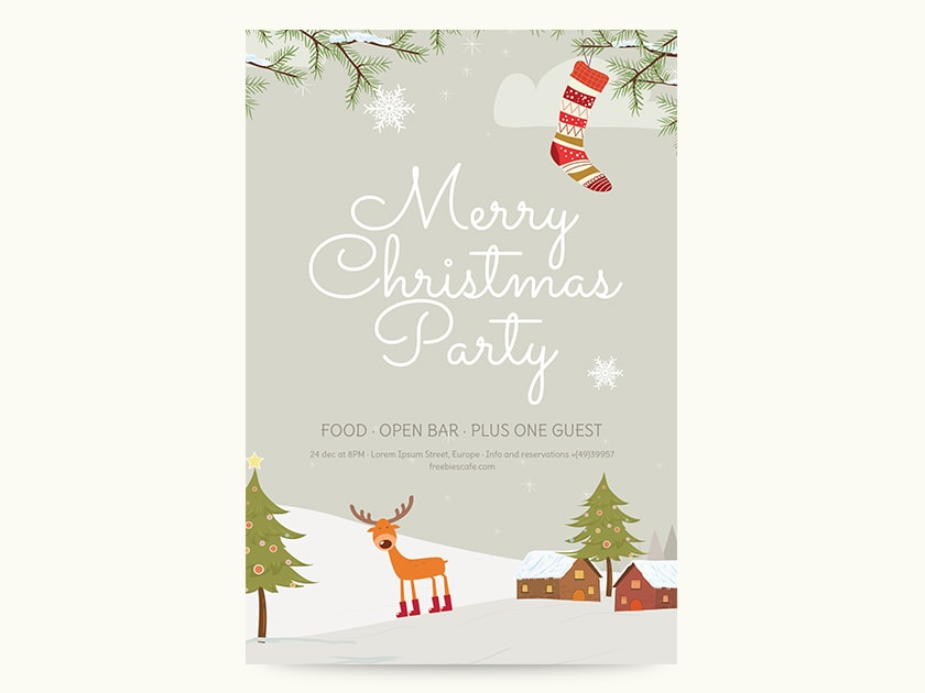 Christmas Party Flyer.Merry Christmas Party Flyer Fluxes Freebies