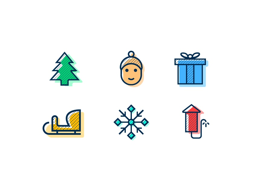 Winter Holiday Icons Set