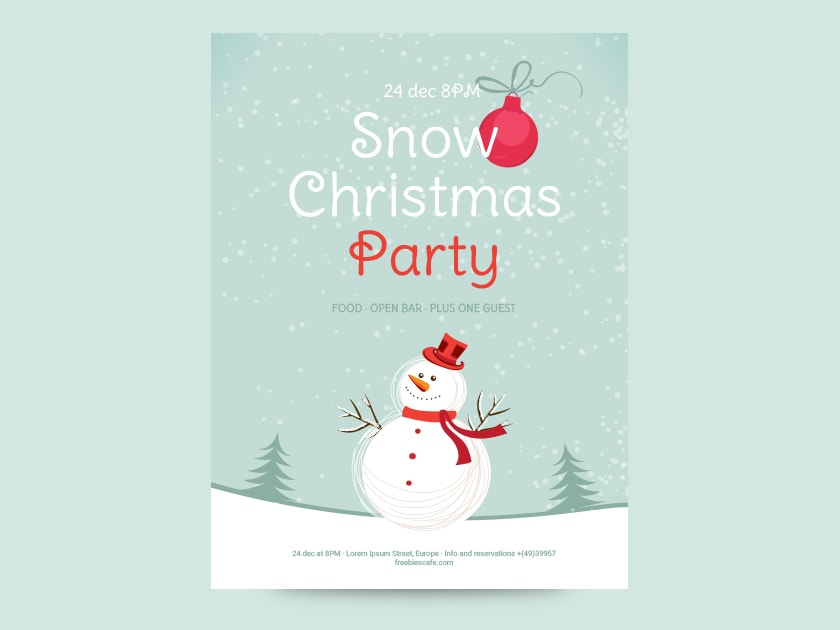 free snow christmas party flyer fluxes freebies