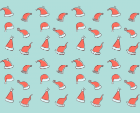 Santa hats seamless vector pattern
