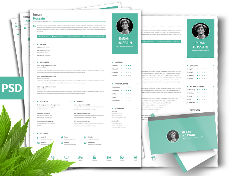 Professional Resume and Business Card PSD Template
