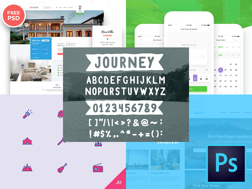 Travel Freebies - Icons, Fonts, Templates, and More - Fluxes Freebies