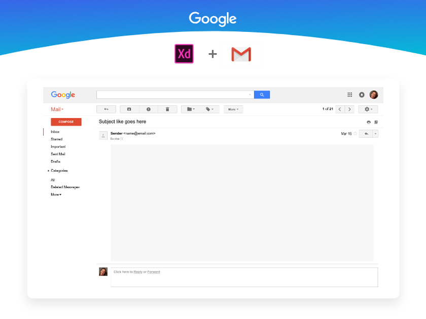 Gmail UI Kit – Adobe XD